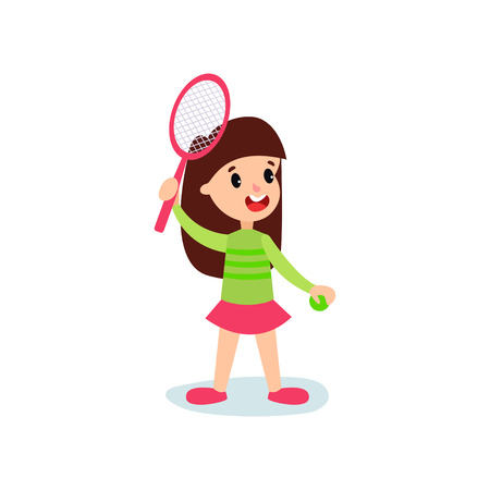 Smiling little girl character playing tennis or badminton, kids physical activity cartoon vector Illustration