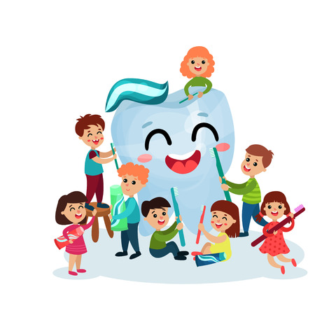 Lindos niños y niñas que se divierten y limpieza gigante personaje de diente feliz con cepillo de dientes y pasta de dientes, cuidado dental y salud dibujos animados vector
