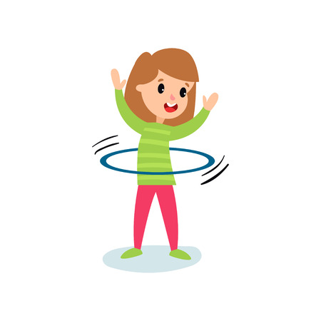 Smiling little girl character spinning a hula hoop around the waist, kids physical activity cartoon vector Illustration