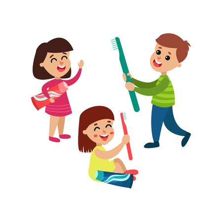 Cute little boy and girls characters playing with toothpaste and toothbrush, kids brushing their teeth together cartoon vector Illustration