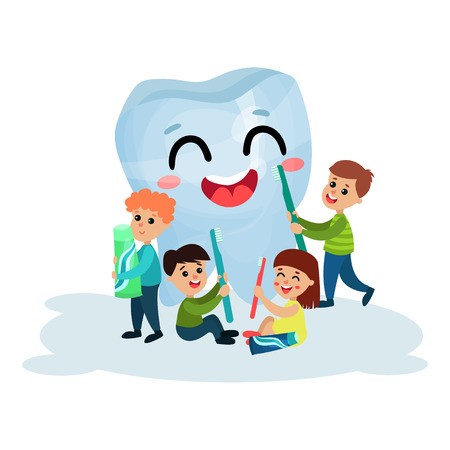 Cute little boys and girls cleaning giant happy tooth character with toothbrush and toothpaste, dental care and health cartoon vector Illustration