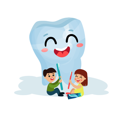 Cute little kids cleaning giant smiling tooth character with toothbrushes, dental care and health cartoon vector Illustration