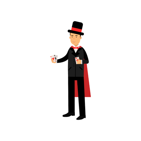 Magician in an elegant black suit and red cape performing trick with playing cards, circus performer vector Illustration Stock Photo