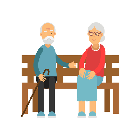 Senior couple sitting on the wooden bench, pensioner people leisure and activity vector Illustration