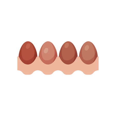Egg tray with brown fresh chicken eggs vector Illustration
