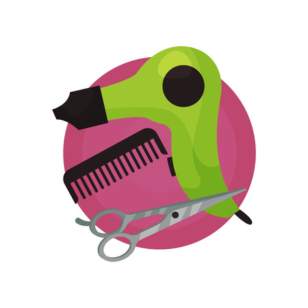 Hairdresser icon, hair dryer, comb, scissors, barbershop symbols cartoon vector Illustration