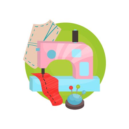 Sewing icon, tailor shop equipment cartoon vector Illustration Vettoriali