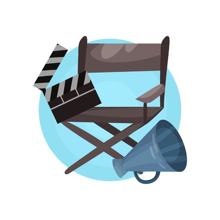 Film director profession icon, cinema Industry equipment cartoon vector Illustration