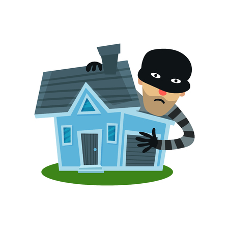 Male thief in mask robbed house, property insurance vector Illustration
