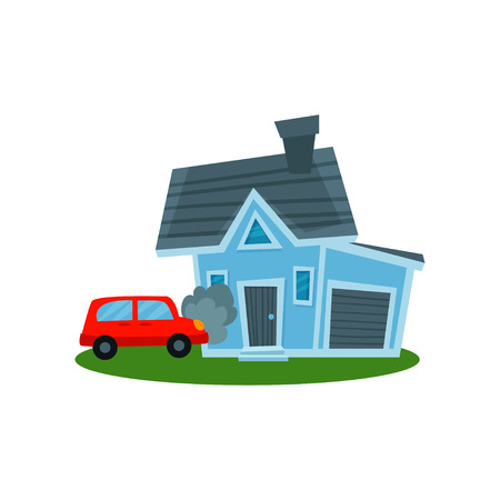 Auto crashing into wall of home, property insurance vector Illustration