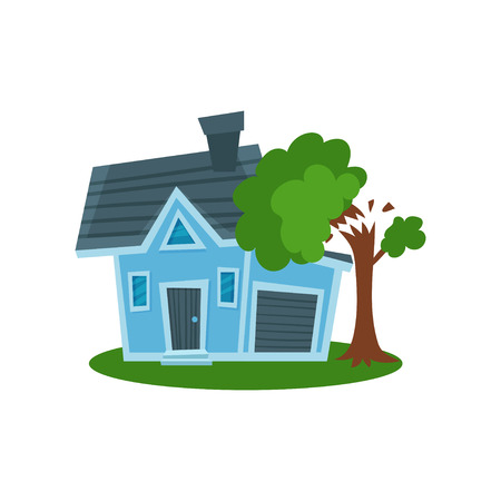 Tree falling on a house, property insurance vector Illustration Illustration