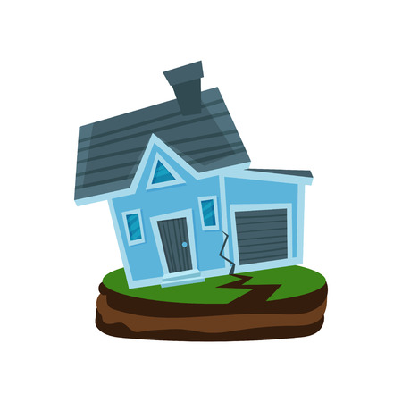 House after an earthquake, property insurance vector Illustration