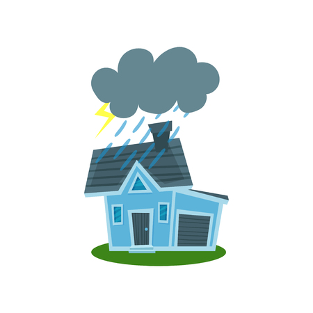 House struck by lightning, property insurance vector Illustration Vectores