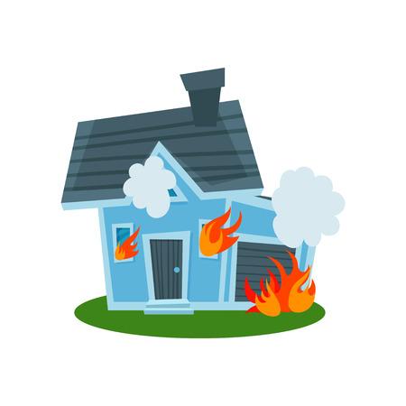 House on fire, property insurance vector Illustration Ilustração
