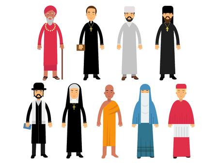 Set di ministri della religione, rappresentanti del buddismo, rappresentanti del cattolicesimo, islam, ortodossia, induismo, religioni del giudaismo illustrazioni vettoriali Vettoriali