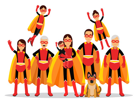 Family of superheroes, grandmother, grandfather, mother, father, children and dog in orange capes vector Illustration isolated on a white background
