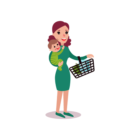 Mother carrying a shopping basket in one arm and baby in the other, super mom concept vector Illustration Illustration
