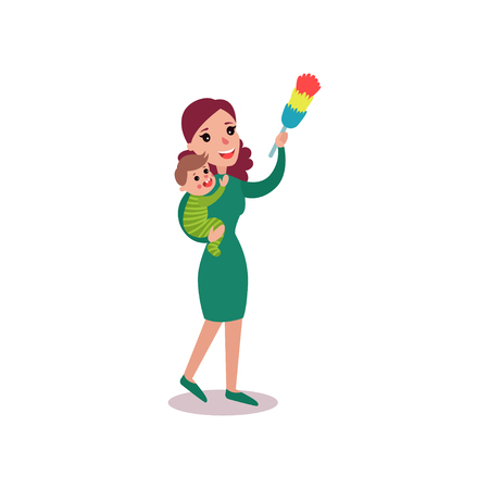 Mother wiping dust at home with baby in her arms, super mom concept vector Illustration isolated on a white background