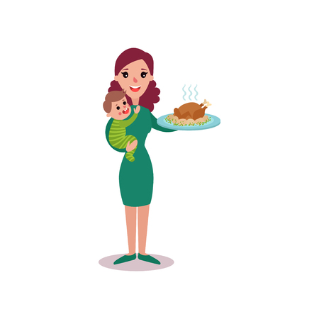 Mother holding roasted chicken in one arm and baby in the other, super mom concept vector Illustration isolated on a white background