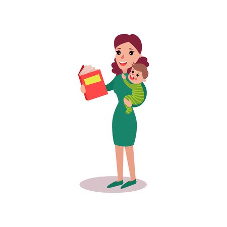 Mother reading a book with baby in her arms , super mom concept vector Illustration