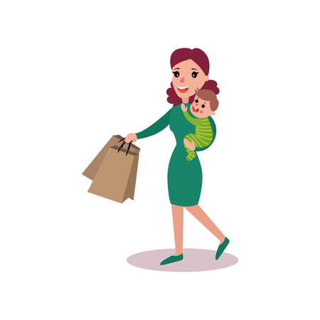 Mother carrying shopping bags in one arm and baby in the other, super mom concept vector Illustration Illustration