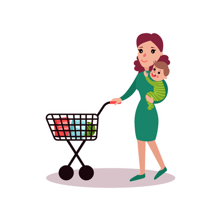 Mother carring baby in her arms and pushing shopping cart, super mom concept vector Illustration