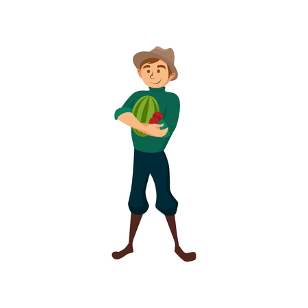 Male farmer with watermelon, gardener at work cartoon vector Illustration Illustration