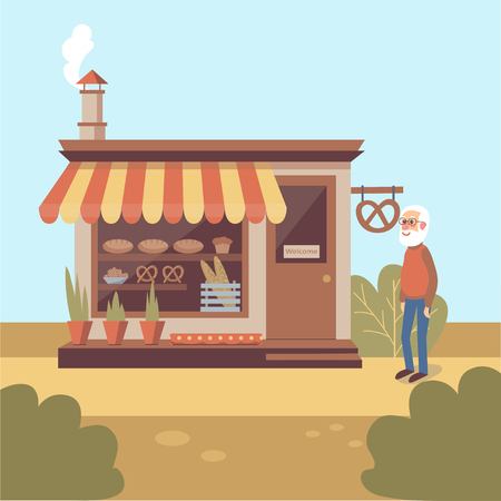 Illustration of gray-bearded old man standing near bakery store building with showcase full of bakery products. Flat vector