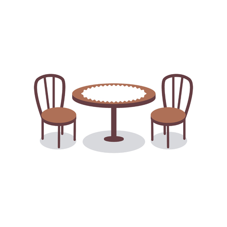 Cartoon table covered with white cloth for two people and wooden chairs icons. Furniture for dining room or cafe interior scene design. Vector illustration