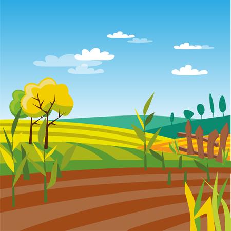 耕種農業フィールド、農村風景ベクトル図