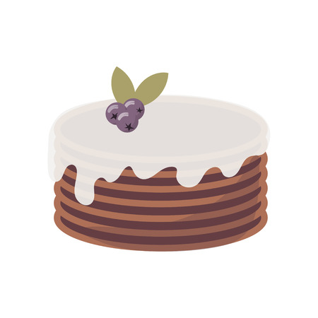 Flat icon of multi-layer chocolate cake with whipped cream and blueberry on top for bakery, cafe and restaurant. Vector cartoon illustration isolated on white.
