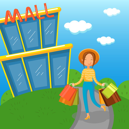 Young woman carrying shopping bags walking out from mall vector Illustration Фото со стока
