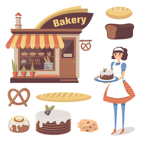Bakery set with pastry store building, baked goods, girl baker or waitress character. Cartoon flat food. Vector isolated on white. Illustration