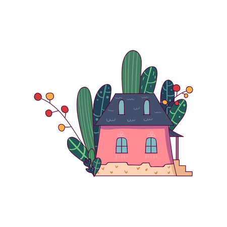 Doodle fairy little house with different green plants behind. Isolated vector icon in line style. Childish graphic design for print, postcard or children s book