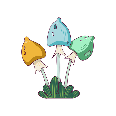 Fantasy mushrooms in line style. Colorful fairy plant from wonderland. Magic nature element. Hand drawn vector design for postcard, sticker or print