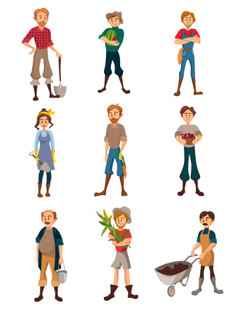 Set of Farmers at work, gardeners with different agricultural tools, harvesting crop, agriculture farming concept cartoon vector Illustration