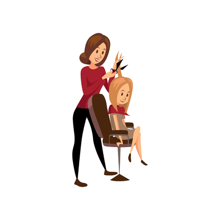 Female hairdresser cutting hair of young woman, professional hair stylist at workplace cartoon vector Illustration