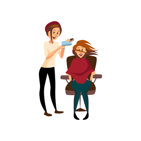 Hairdresser woman drying hair for her client with hairbrush and hair dryer, professional hair stylist at workplace cartoon vector Illustration