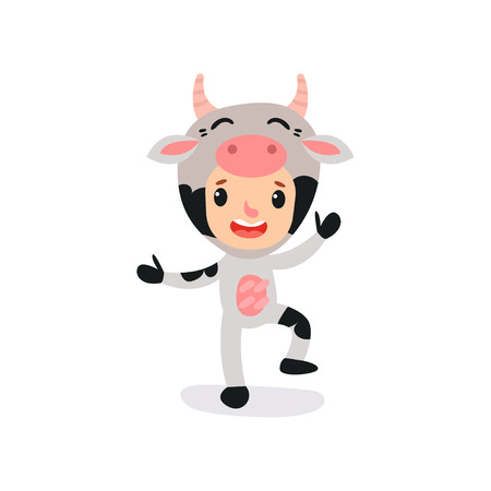 Cute kid character dressed as farm cow with horns. Little child wearing animal costume. Cartoon vector illustration isolated on white. Flat design for advertising kindergarten or development center.