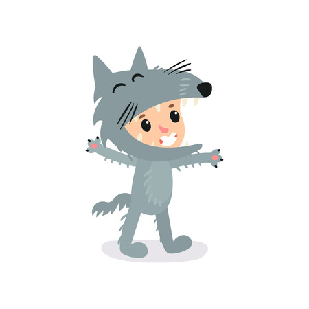 Cartoon character of little boy or girl in gray wolf costume. Funny Halloween jumpsuit for children s party. Vector illustration in flat style isolated on white. Design for banner, postcard or sticker