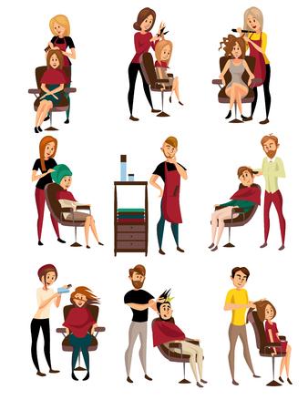 Verschillende kappers die geplaatste cliënten dienen, man en vrouw in herenkapper, de vectorillustraties van het herenkapperbeeldverhaal