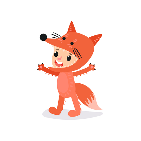 Preschool kid dressed in fox costume. Boy or girl character having fun at children s party. Child wearing colorful animal costume. Flat vector for getting card, sticker or poster Illustration