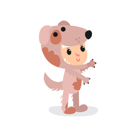 Boy or girl character in adorable brown puppy costume standing isolated on white. Cartoon cute child in funny animal suit. Flat vector design for book illustration, poster, getting card or sticker.