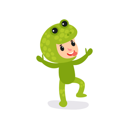 Joyful little kid having fun in green frog jumpsuit. Cartoon child cheerful face expression showing shows tongue. Boy or girl wearing animal costume. Flat vector design Illustration