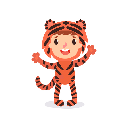 Illustration of toddler kid in colorful tiger costume. Child in outfit for photoshoot or Halloween party.