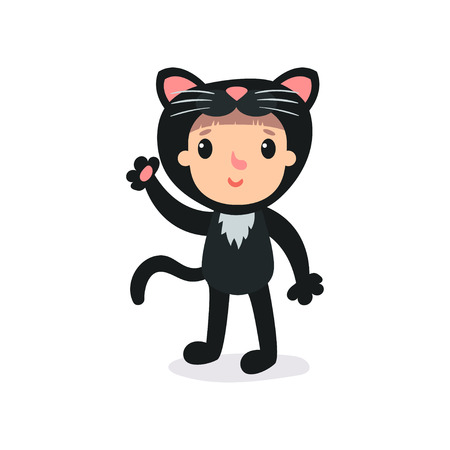 Toddler in plush black cat costume waving by hand. Child wearing animal suit with cute ears and tail. Flat vector design for poster, banner, kids party invitation card.