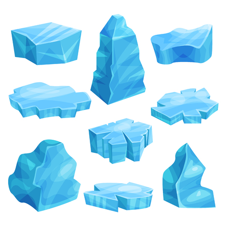 Pieces of ice set, cold frozen block, icy cliff, iceberg vector Illustrations