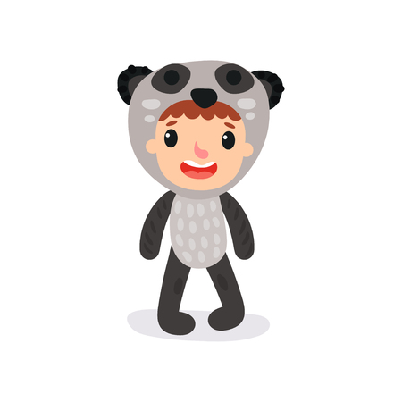 Cute illustration of girl or boy character in panda jumpsuit. Funny animal costume. Flat design for poster, banner, sticker or invitation card