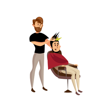 Male hairdresser serving client, professional hair stylist at workplace cartoon vector Illustration