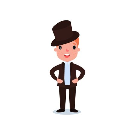 Handsome red-haired kid with freckles in elegant brown suit and top hat. Cartoon boy character standing with arms akimbo on white background.
